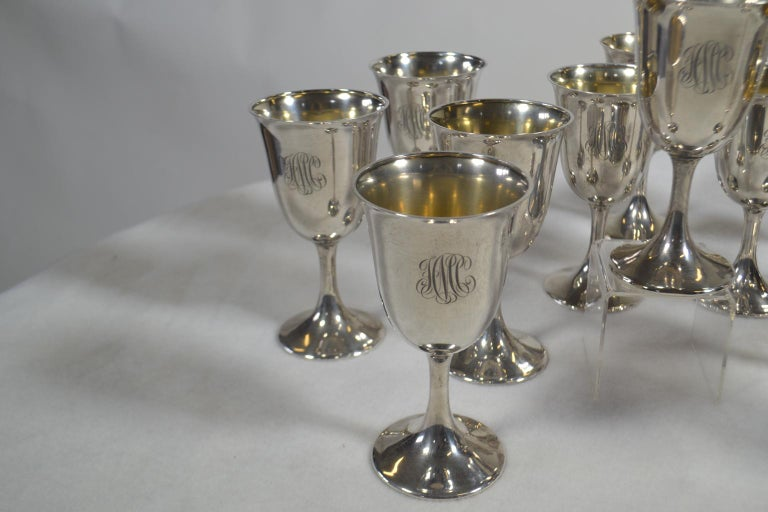 20th Century Set of 12 Sterling Silver Goblets For Sale