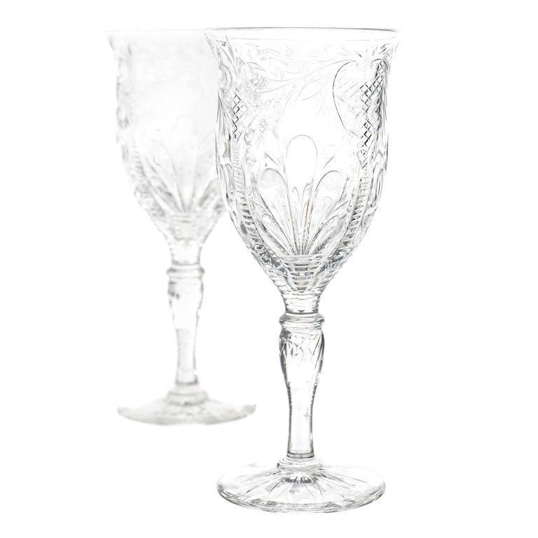 Cut Glass Set of 12 Stevens & Williams Water Goblets For Sale