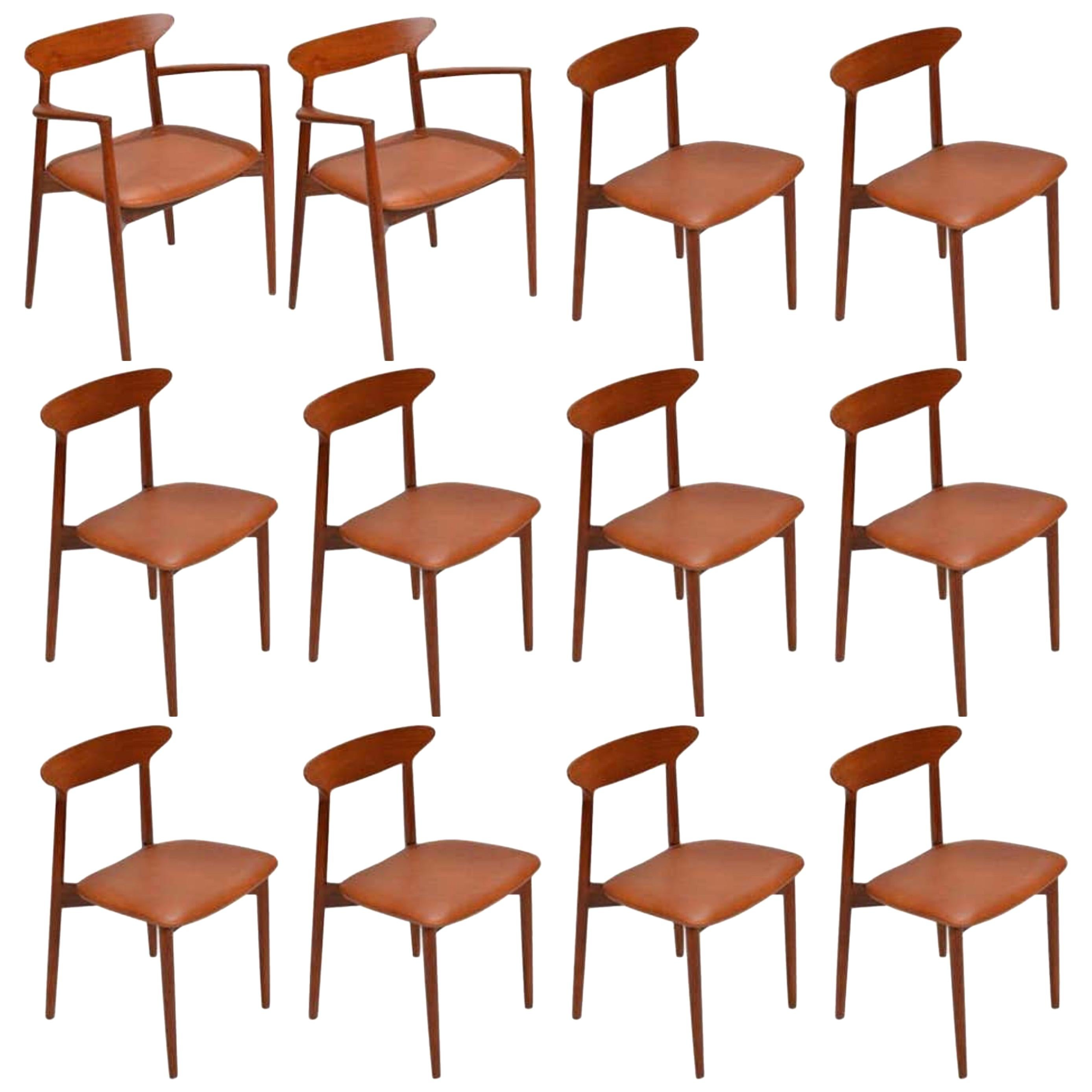 Set of 12 Teak Dining Chairs by Harry Østergaard for Randers Møbelfabrik