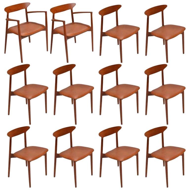 Set of 12 Teak Dining Chairs by Harry Østergaard for Randers Møbelfabrik For Sale