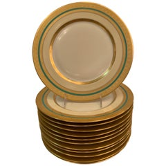 Set of 12 Thick Gold bordered Service Dinner Plates