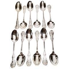 Set of 12 Tiffany & Co Saratoga/Cook/Kings Pattern Teaspoons