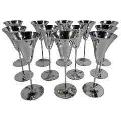 Set of 12 Tiffany Modern Sterling Silver Chic Champagne Tulip Flutes
