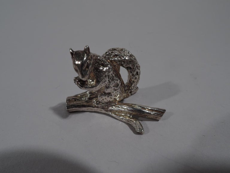 Modern Set of 12 Tiffany Sterling Silver Squirrel Place Card Holders For Sale