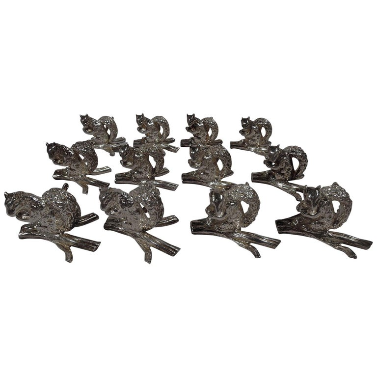 Set of 12 Tiffany Sterling Silver Squirrel Place Card Holders For Sale