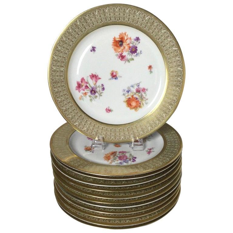 Set of 12 Tirschenreuth Porcelain Service Plates For Sale