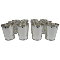 Set of 12 Traditional Sterling Silver Mint Julep Cups by Alvin
