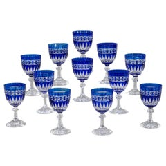 Set of 12 Val Saint Lambert Hand Blown Large Crystal Goblets Cobalt Cut to Clear