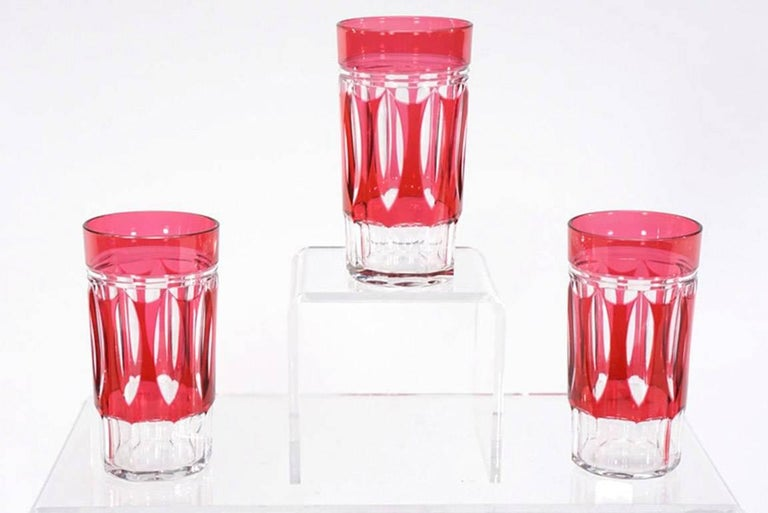 Belgian Set of 12 Val St Lambert Art Deco Crystal Tumblers Cranberry Cut to Clear For Sale
