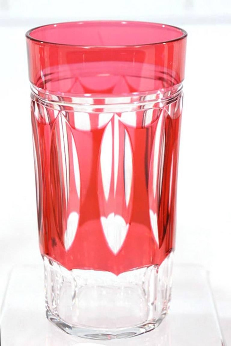 Set of 12 Val St Lambert Art Deco Crystal Tumblers Cranberry Cut to Clear In Excellent Condition For Sale In Great Barrington, MA