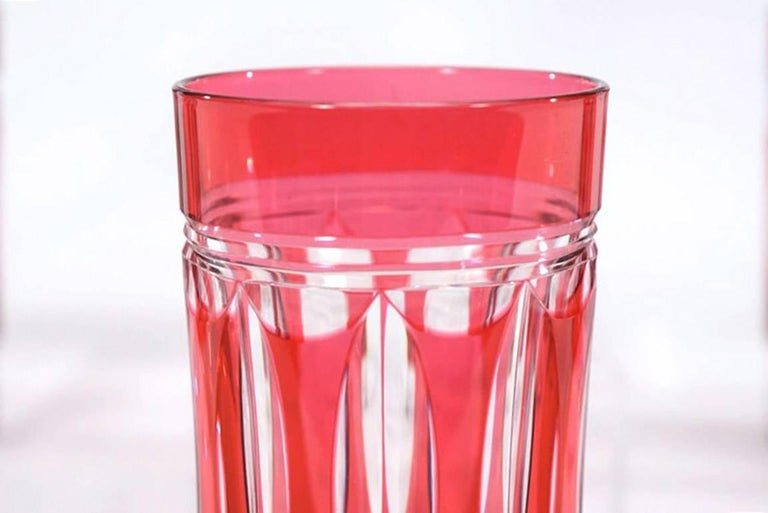20th Century Set of 12 Val St Lambert Art Deco Crystal Tumblers Cranberry Cut to Clear For Sale