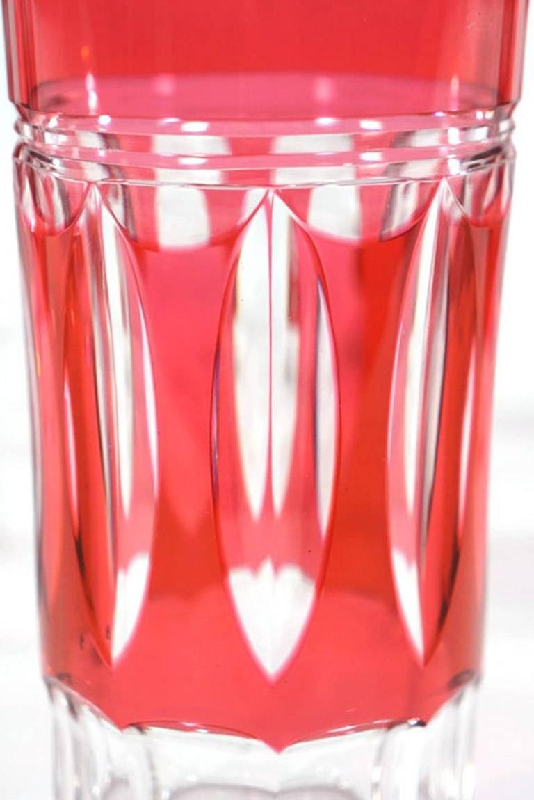 Set of 12 Val St Lambert Art Deco Crystal Tumblers Cranberry Cut to Clear For Sale 1