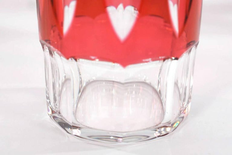 Set of 12 Val St Lambert Art Deco Crystal Tumblers Cranberry Cut to Clear For Sale 2
