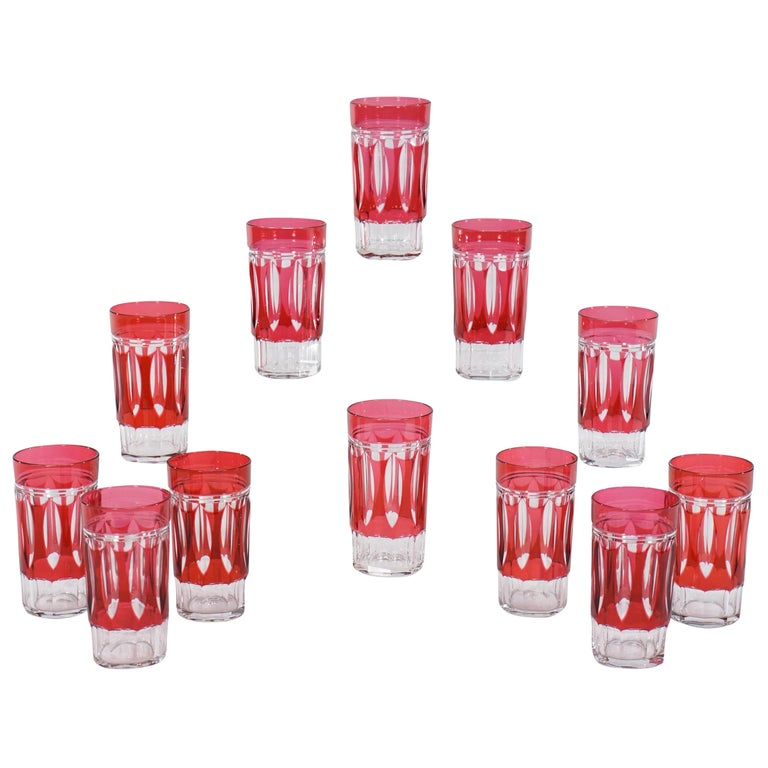 Set of 12 Val St Lambert Art Deco Crystal Tumblers Cranberry Cut to Clear For Sale
