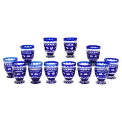 Set of 12 Val St. Lambert Crystal Tumblers Cobalt Blue Overlay Cut to Clear