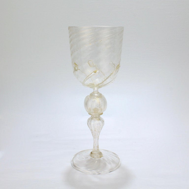 20th Century Set of 12 Venetian / Murano Glass Large Water or Wine Goblets w Gold Inclusions For Sale