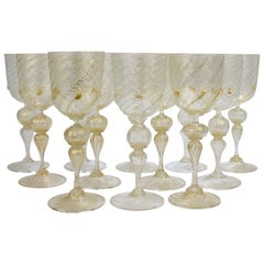 Set of 12 Venetian / Murano Glass Large Water or Wine Goblets w Gold Inclusions