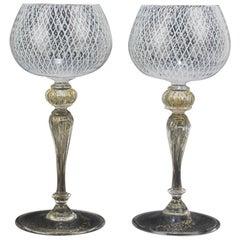 Set of 12 Venetian or Murano Glass Reticulo Filigrana Decorated Wine Goblets