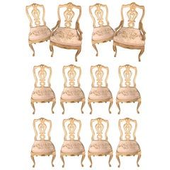 Set of 12 Venetian Parcel-Gilt and Paint Decorated Dining Chairs