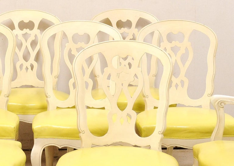 Set of 12 Venetian Style Carved/Painted Wood Dining Chairs w/ Leather Upholstery For Sale 6