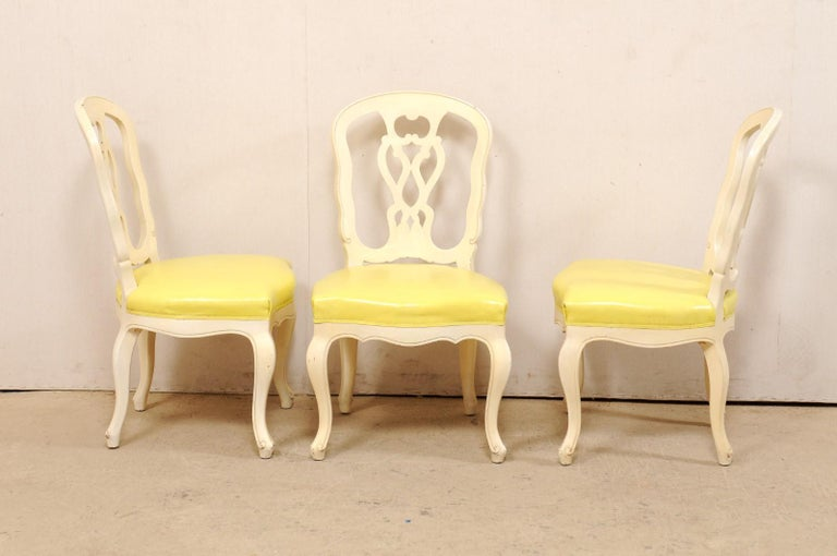 Set of 12 Venetian Style Carved/Painted Wood Dining Chairs w/ Leather Upholstery For Sale 7