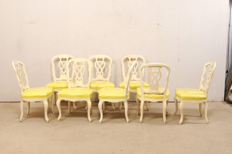 American Set of 12 Venetian Style Carved/Painted Wood Dining Chairs w/ Leather Upholstery For Sale