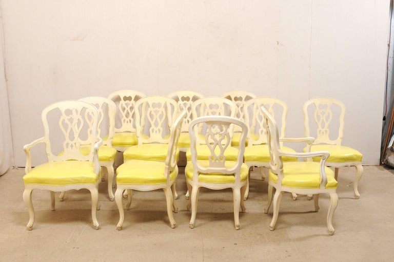 Set of 12 Venetian Style Carved/Painted Wood Dining Chairs w/ Leather Upholstery For Sale 2
