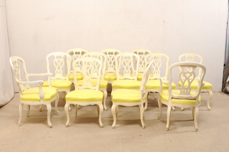 Set of 12 Venetian Style Carved/Painted Wood Dining Chairs w/ Leather Upholstery For Sale 3