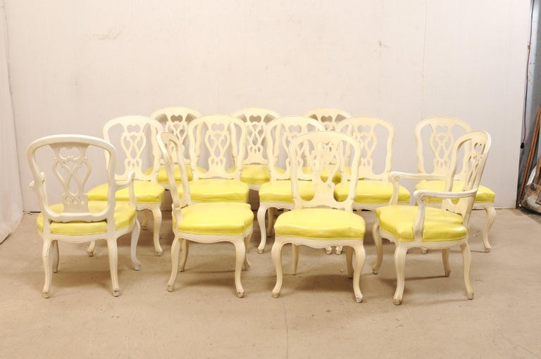 Set of 12 Venetian Style Carved/Painted Wood Dining Chairs w/ Leather Upholstery For Sale 4
