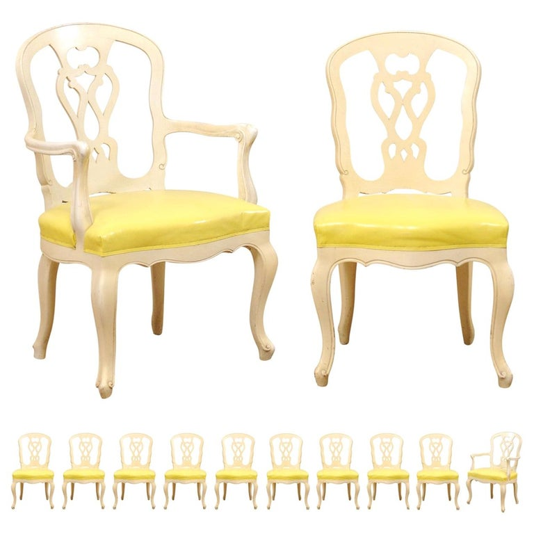 Set of 12 Venetian Style Carved/Painted Wood Dining Chairs w/ Leather Upholstery For Sale