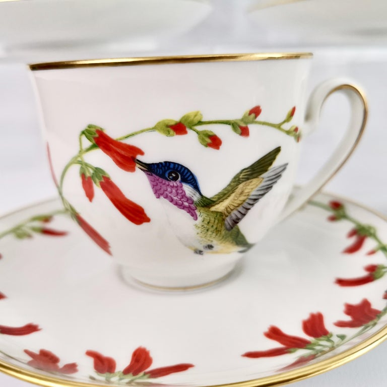 On offer is a set of 12 hand painted cups and saucers made in Bavaria (Germany) in 1979 for the Franklin Mint in collaboration with the World Wildlife Fund. The set is called
