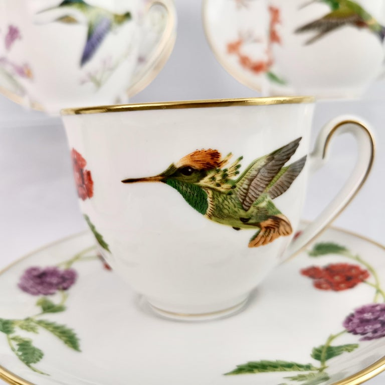 German Set of 12 Vintage Bavaria Cups and Saucers, Hummingbirds of the World, 1979 For Sale