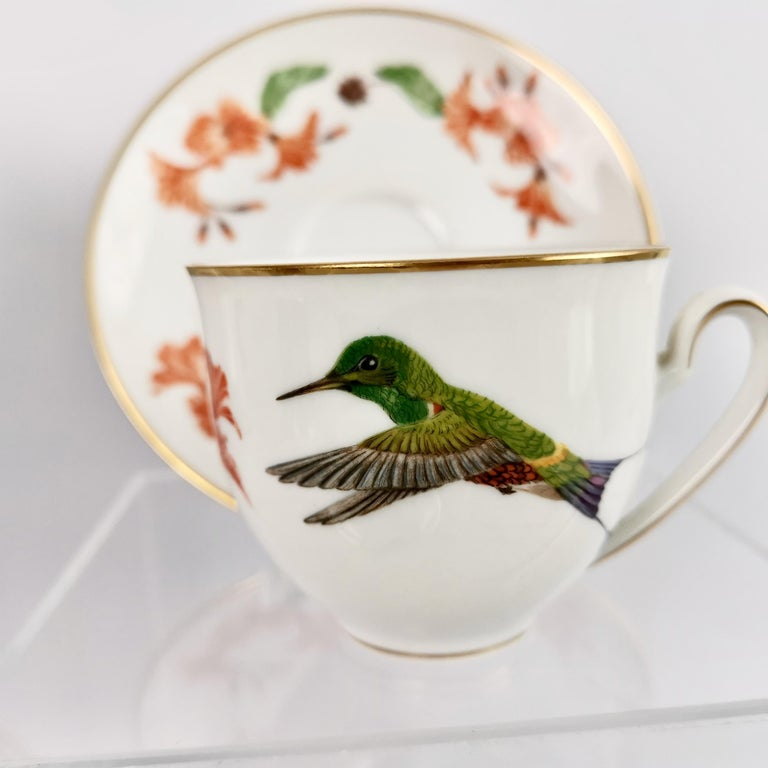 Late 20th Century Set of 12 Vintage Bavaria Cups and Saucers, Hummingbirds of the World, 1979 For Sale