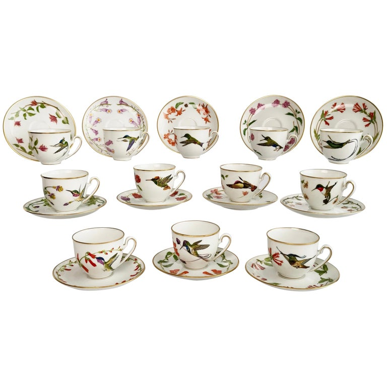Set of 12 Vintage Bavaria Cups and Saucers, Hummingbirds of the World, 1979 For Sale