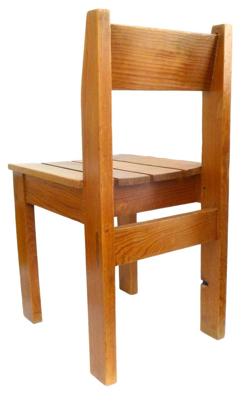 Modern Set of 12 Vintage European Wood Slat Chairs For Sale