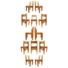 Set of 12 Vintage European Wood Slat Chairs