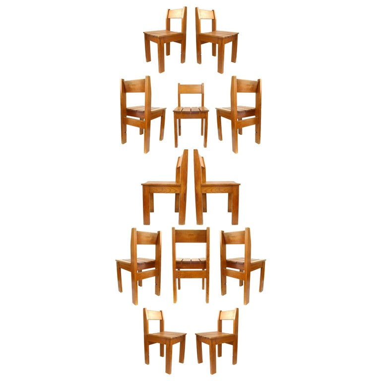 Set of 12 Vintage European Wood Slat Chairs For Sale
