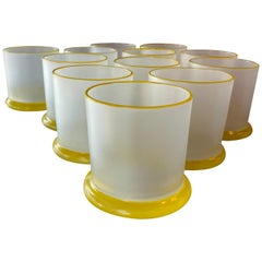 Set of 12 Vintage Frosted Yellow Glass Bar Cocktail Drinking Glasses Whiskey