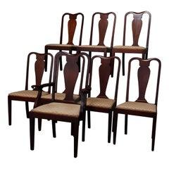 Set of 12 Vintage Hepplewhite Style Slat Back Mahogany Dining Chairs, circa 1930
