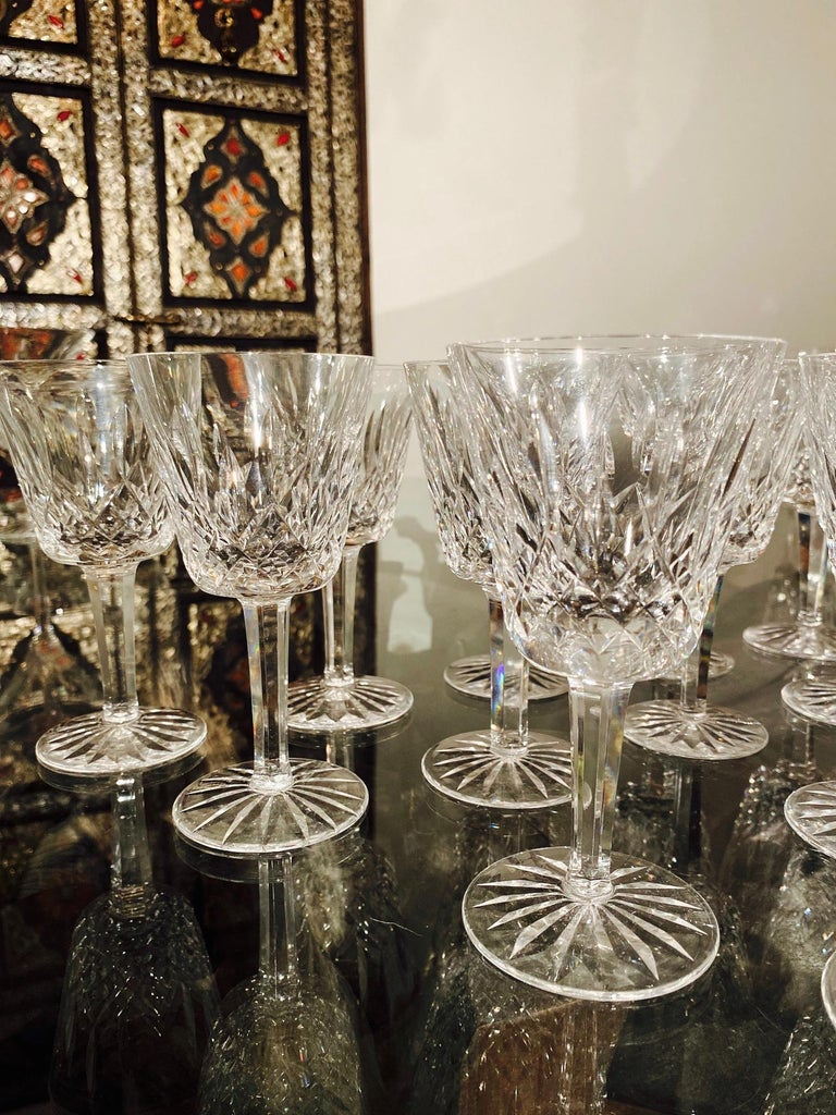 Set of 12 Vintage Waterford Crystal Lismore Wine Glasses, Germany, circa 1990s For Sale 4