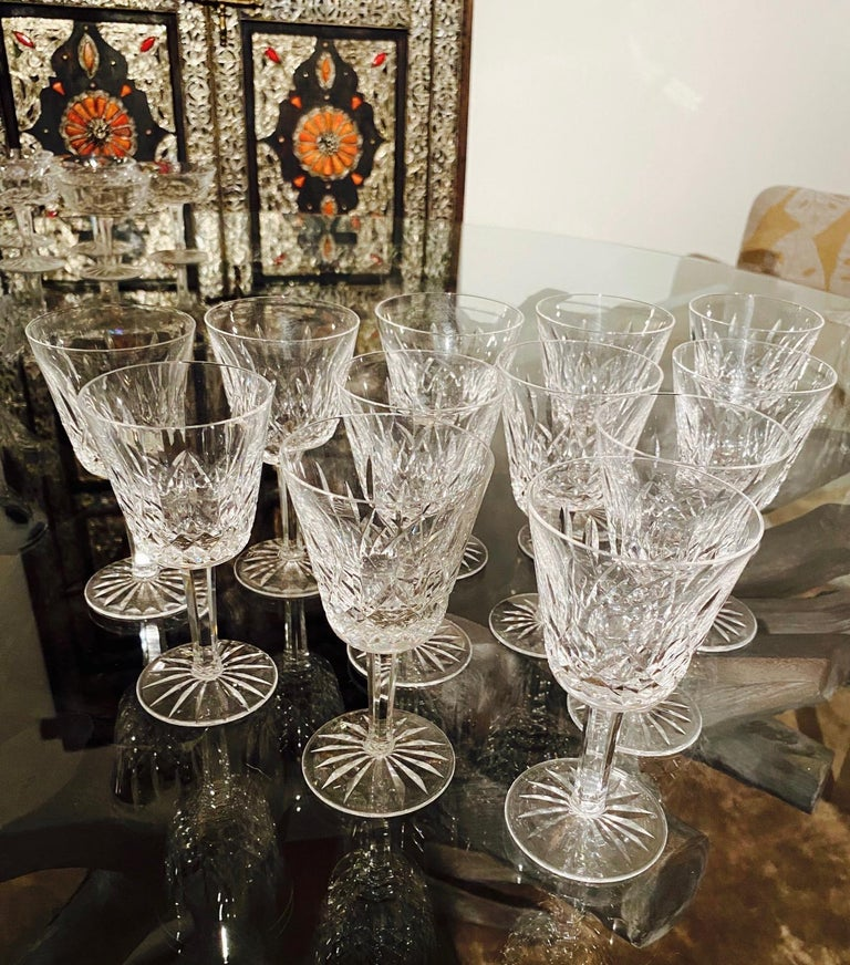 Hand-Crafted Set of 12 Vintage Waterford Crystal Lismore Wine Glasses, Germany, circa 1990s For Sale
