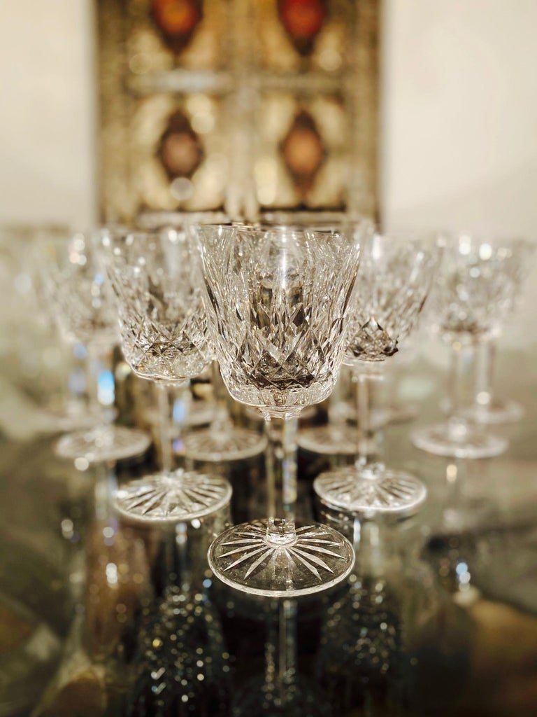 Late 20th Century Set of 12 Vintage Waterford Crystal Lismore Wine Glasses, Germany, circa 1990s For Sale