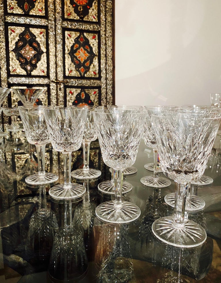 Set of 12 Vintage Waterford Crystal Lismore Wine Glasses, Germany, circa 1990s For Sale 3