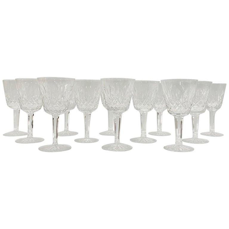 Set of 12 Vintage Waterford Crystal Lismore Wine Glasses, Germany, circa 1990s For Sale