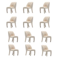 Set of 12 Vladimir Kagan for Directional Dining Chairs in Ivory White Bouclé