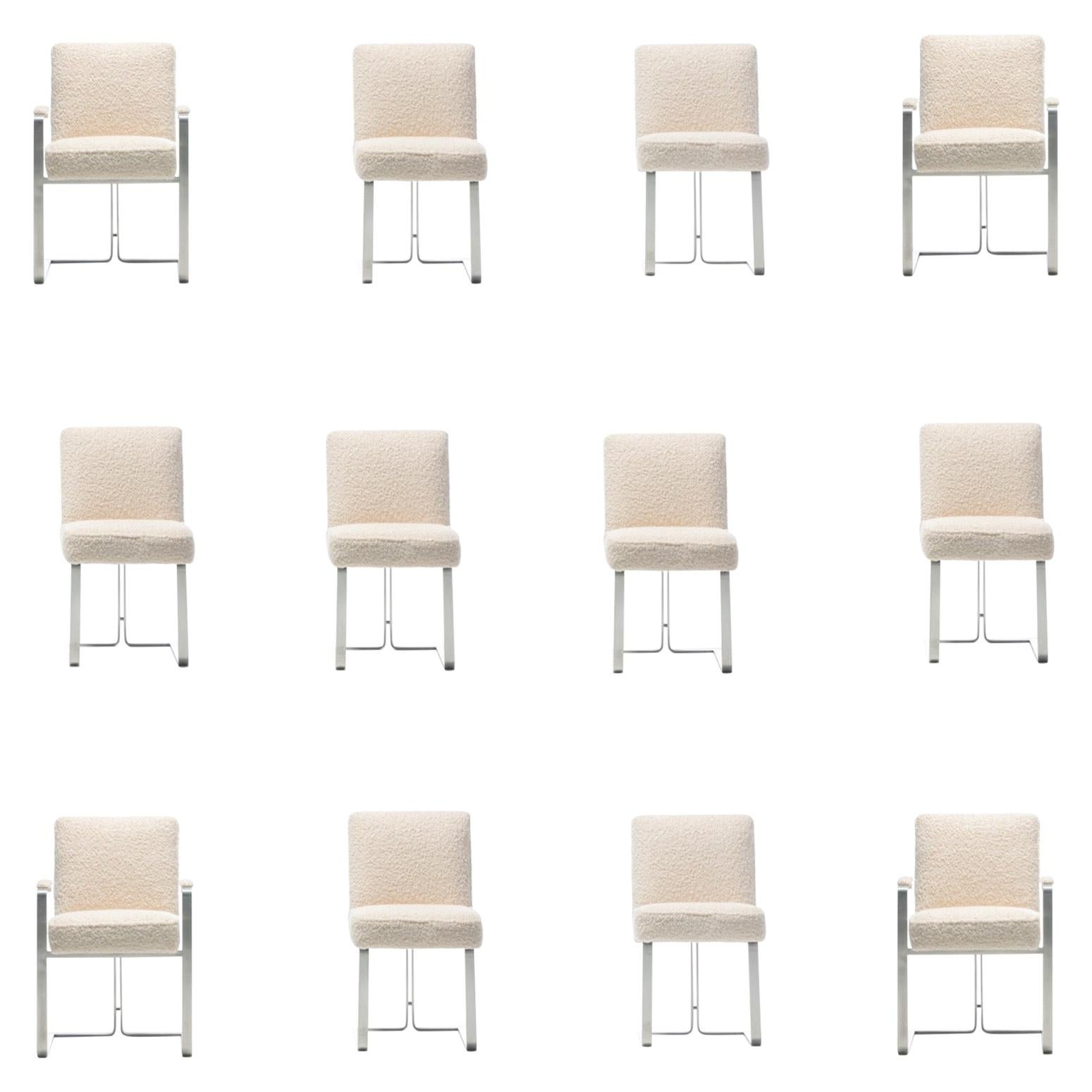 Set of 12 Vladimir Kagan for Kagan-Dreyfuss Steel Dining Chairs in Ivory Bouclé