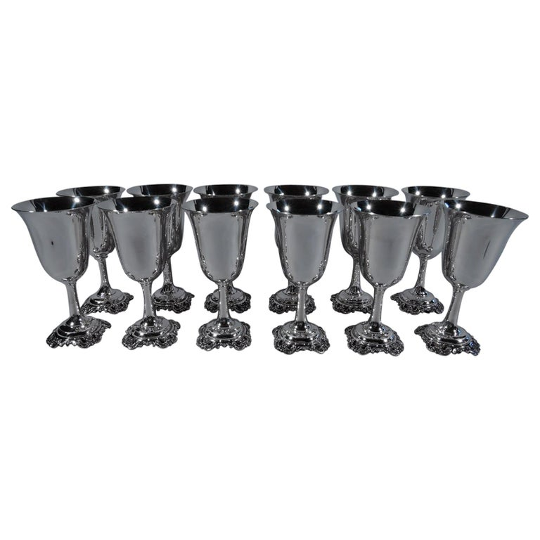 Set of 12 Wallace Grande Baroque Sterling Silver Goblets For Sale