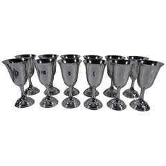Set of 12 Wallace Rose Point Sterling Silver Goblets