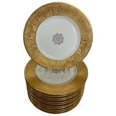Set of 12 Wide Gold Bordered Service Plates