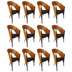 Set of 12 Wooden and Metal Italian Design Dining Armchairs